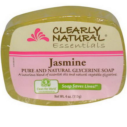 Clearly Natural, Essentials, Pure and Natural Glycerine Soap, Jasmine, 4oz (113g)
