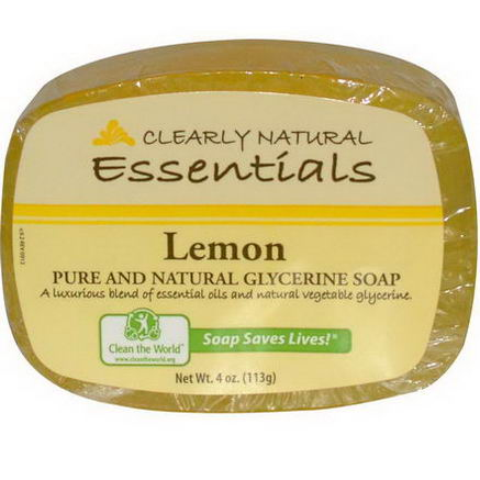 Clearly Natural, Essentials, Pure and Natural Glycerine Soap, Lemon, 4oz (113g)