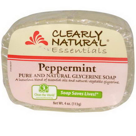 Clearly Natural, Essentials, Pure and Natural Glycerine Soap, Peppermint, 4oz (113g)