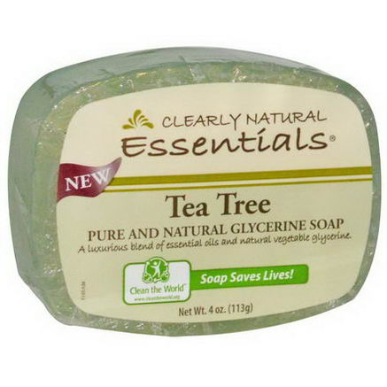 Clearly Natural, Essentials, Pure and Natural Glycerine Soap, Tea Tree, 4oz (113g)