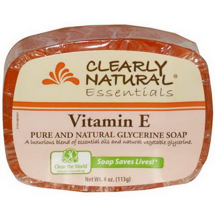 Clearly Natural, Essentials, Pure and Natural Glycerine Soap, Vitamin E, 4oz (113g)