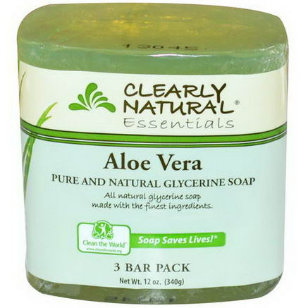 Clearly Natural, Pure and Natural Glycerine Soap, Aloe Vera, 3 Bar Pack, 4oz Each