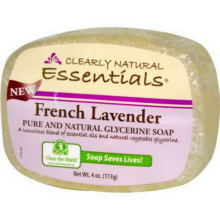 Clearly Natural, Pure and Natural Glycerine Soap, French Lavender, 4oz (113g)
