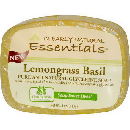 Clearly Natural, Pure and Natural Glycerine Soap, Lemongrass Basil, 4oz (113g)