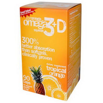 Coromega, Omega3+D Squeeze, Tropical Orange, 90 Squeeze Packets ( 2.5g) Each