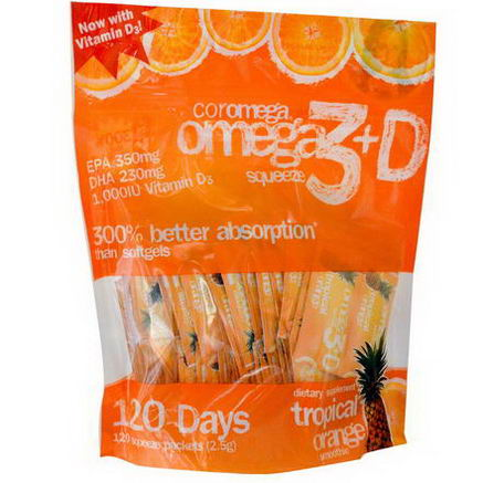 Coromega, Omega3+D Squeeze, Tropical Orange Smoothie, 120 Squeeze Packets, 2.5g Each
