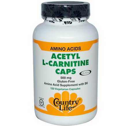 Country Life, Gluten Free, Acetyl L-Carnitine Caps, 500mg, 120 Veggie Caps