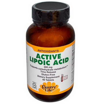 Country Life, Gluten Free, Active Lipoic Acid, 300mg, 60 Tablets