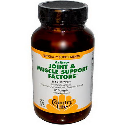 Country Life, Gluten Free, Arthro-Joint & Muscle Support Factors, 60 Softgels
