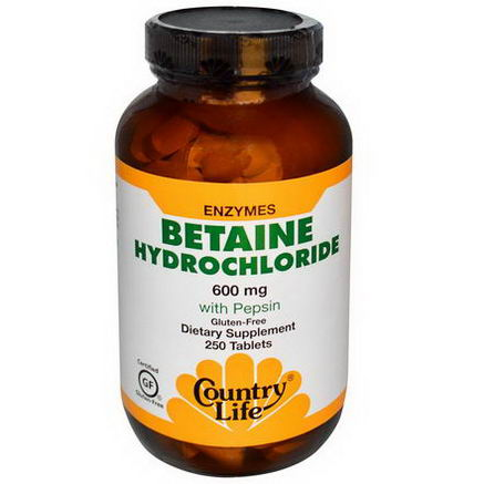 Country Life, Gluten Free, Betaine Hydrochloride, with Pepsin, 600mg, 250 Tablets