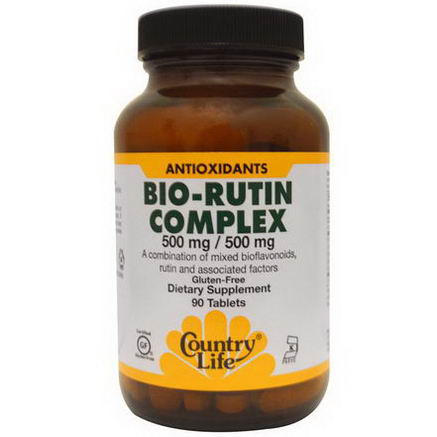 Country Life, Gluten Free, Bio-Rutin Complex, 500mg / 500mg, 90 Tablets