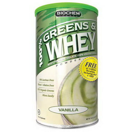 Country Life, Gluten Free, BioChem Sports, 100% Greens & Whey, Powder, Vanilla, 10.3oz (298g)