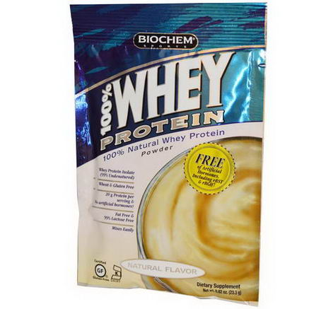 Country Life, Gluten Free, BioChem Sports, 100% Whey Protein Powder, Natural Flavor, 0.82oz (23.3g)