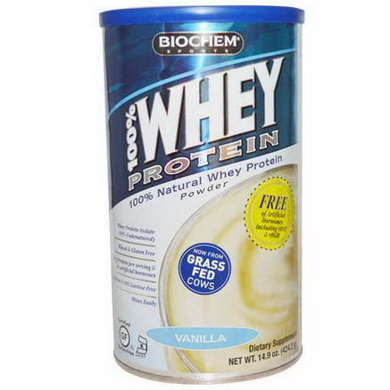 Country Life, Gluten Free, BioChem Sports, 100% Whey Protein Powder, Vanilla, 14.9oz (424.2g)