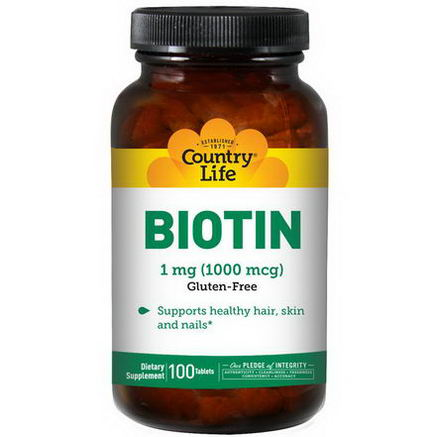 Country Life, Gluten Free, Biotin, 1000 mcg, 100 Tablets