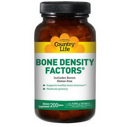 Country Life, Gluten Free, Bone Density Factors, with Boron, 200 Tablets