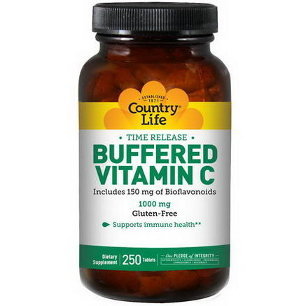 Country Life, Gluten Free, Buffered Vitamin C, 1000mg, 250 Tablets
