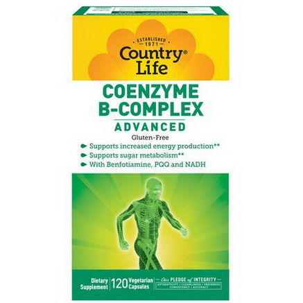 Country Life, Gluten Free, Coenzyme B-Complex, Advanced, 120 Veggie Caps