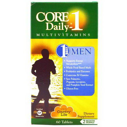 Country Life, Gluten Free, Core Daily-1 Multivitamins, Men, 60 Tablets