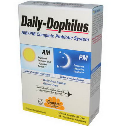 Country Life, Gluten Free, Daily-Dophilus, AM/PM Complete Probiotic System, 112 Veggie Caps