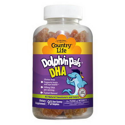 Country Life, Gluten Free, Dolphin Pals, DHA, 3 Great Flavors, 90 Sour Gummy Dolphins