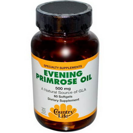 Country Life, Gluten Free, Evening Primrose Oil, 500mg, 60 Softgels