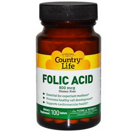 Country Life, Gluten Free, Folic Acid, 800 mcg, 100 Tablets