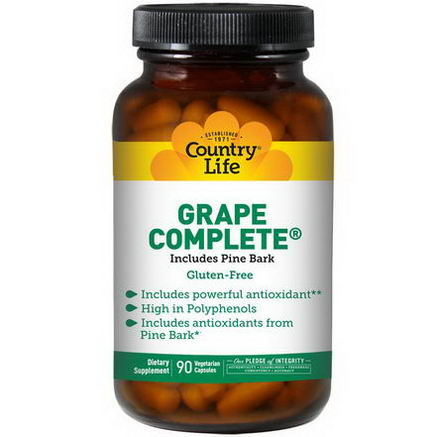 Country Life, Gluten Free, Grape Complete, 90 Veggie Caps