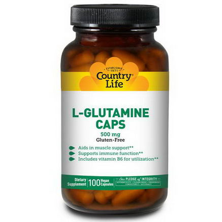 Country Life, Gluten Free, L-Glutamine Caps, 500mg, 100 Veggie Caps