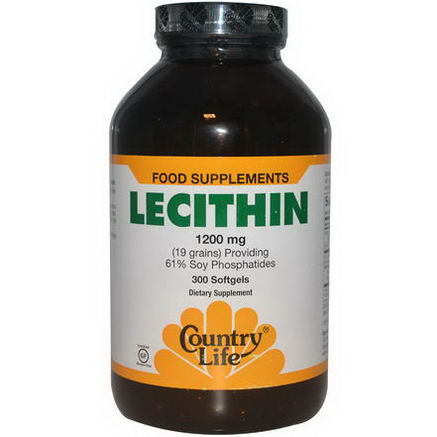 Country Life, Gluten Free, Lecithin, 1200mg, 300 Softgels