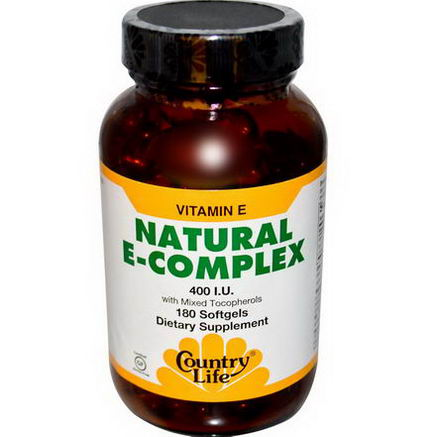Country Life, Gluten Free, Natural E-Complex with Mixed Tocopherols, 400 IU, 180 Softgels