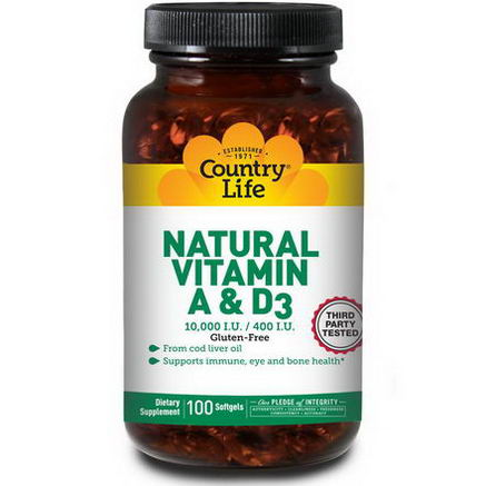Country Life, Gluten Free, Natural Vitamin A & D3, 10, 000 IU/400 IU, 100 Softgels