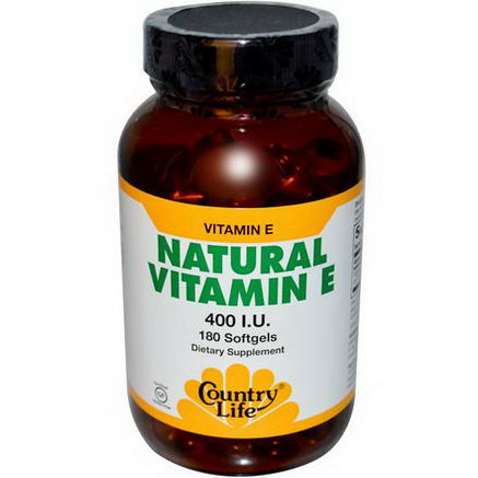 Country Life, Gluten Free, Natural Vitamin E, 400 IU, 180 Softgels