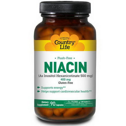 Country Life, Gluten Free, Niacin, Flush-Free, 400mg, 90 Capsules