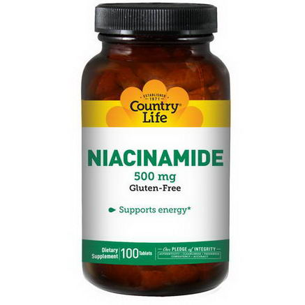 Country Life, Gluten Free, Niacinamide, 500mg, 100 Tablets