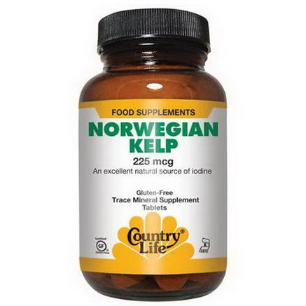 Country Life, Gluten Free, Norwegian Kelp, 225 mcg, 300 Tablets