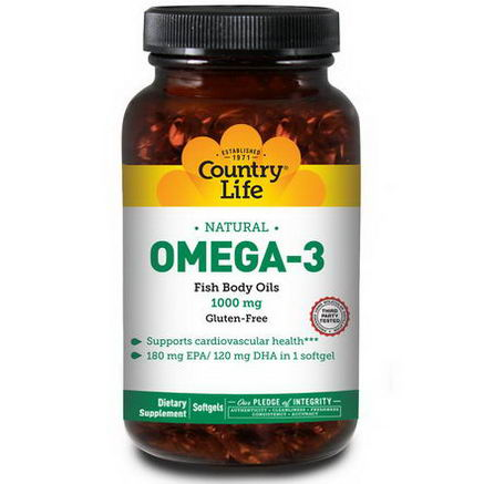 Country Life, Gluten Free, Omega-3, 1000mg, 200 Softgels