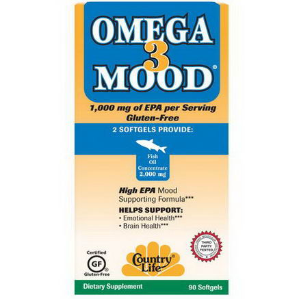 Country Life, Gluten Free, Omega 3 Mood, 90 Softgels