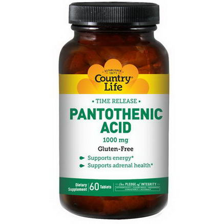 Country Life, Gluten Free, Pantothenic Acid, 1000mg, 60 Tablets