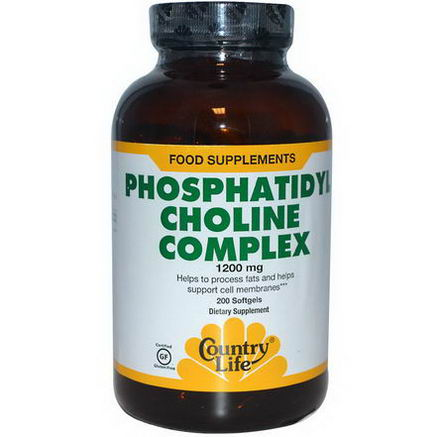 Country Life, Gluten Free, Phosphatidyl Choline Complex, 1200mg, 200 Softgels