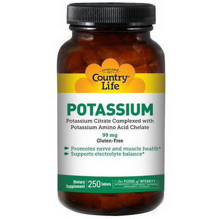 Country Life, Gluten Free, Potassium, 99mg, 250 Tablets