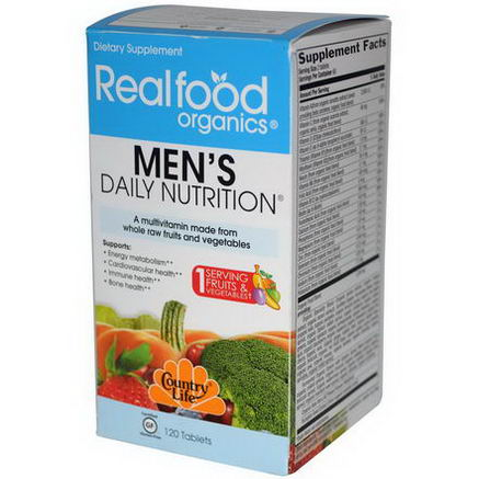 Country Life, Gluten Free, Realfood Organics, Men's Daily Nutrition, 120 Tablets