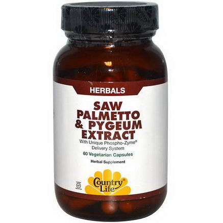 Country Life, Gluten Free, Saw Palmetto & Pygeum Extract, 60 Veggie Caps