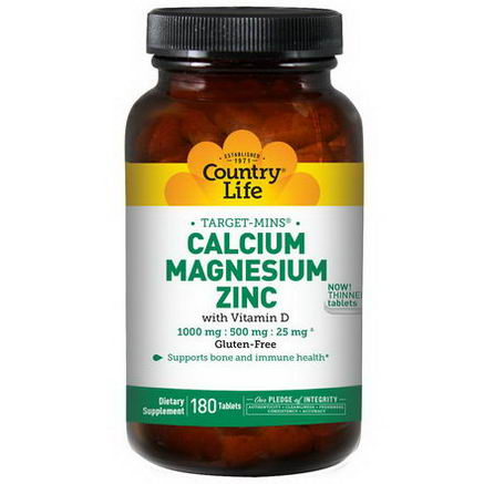 Country Life, Gluten Free, Target-Mins, Calcium Magnesium Zinc, 180 Tablets