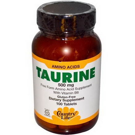 Country Life, Gluten Free, Taurine, 500mg, 100 Tablets