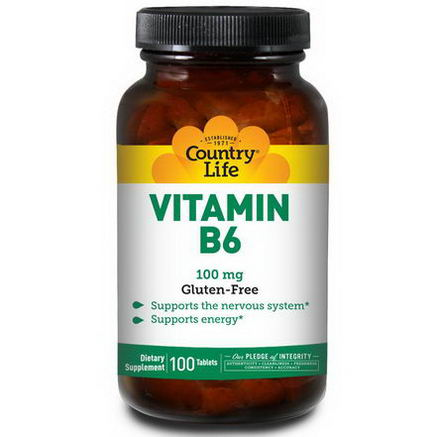 Country Life, Gluten Free, Vitamin B6, 100mg, 100 Tablets