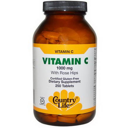 Country Life, Gluten Free, Vitamin C, with Rose Hips, 1000mg, 250 Tablets