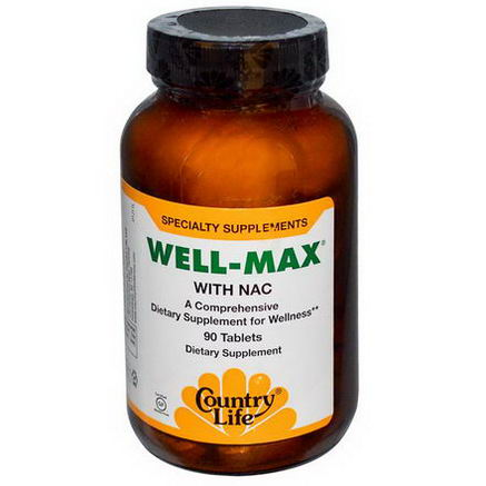 Country Life, Gluten Free, Well-Max, with NAC, 90 Tablets