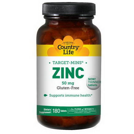 Country Life, Gluten Free, Zinc, 50mg, 180 Tablets