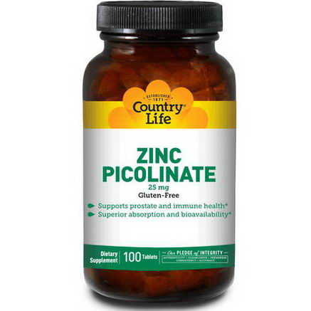 Country Life, Gluten Free, Zinc Picolinate, 25mg, 100 Tablets
